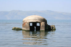 Bunker in the sea Royalty Free Stock Photo