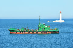 Bunker ship (fuel replenishment tanker) Stock Images