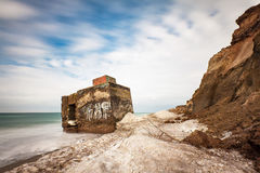 Bunker on shore of the Baltic Sea Stock Images