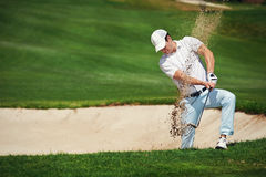 Bunker shot. Golf shot from sand bunker golfer hitting ball from hazard royalty free stock images