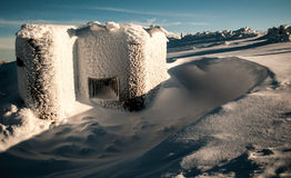 Bunker in snow Royalty Free Stock Images