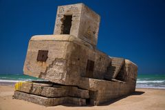 Andalusia Spain Cadiz Bunker Bay Beach old concrete royalty free stock photos