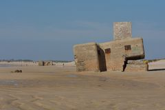 Bunker sulla spiaggia Fotografia Stock Libera da Diritti