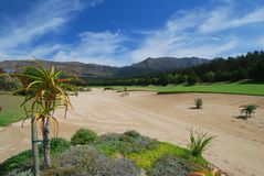 Bunker view. Golf bunker in Western Cape, South Africa Stock Photo