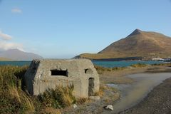 Bunker. A WWII Bunker on the island of Unalaska, Alaska, U.S.A royalty free stock image