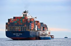 Bunkering罐车俄国海岛集装箱船CMA CGM公司 不冻港海湾 东部(日本)海 30 06 2015年 库存照片
