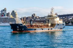 Bunkering ship Anatoma. Sydney, Australia - 5th June 2015: The bunkering ship Anatoma under way in Sydney harbour. The ship is Australian flagged stock photos