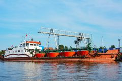 The bunkering ship at the pier Stock Image