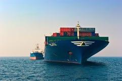 Bunkering tanker Ostrov Russkiy container ship Hyundai company. Nakhodka Bay. East (Japan) Sea. 19.04.2014 Stock Images