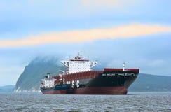 Bunkering tanker Vitaly Vanukhin container ship MSC company. Nakhodka Bay. East (Japan) Sea. 22.07.2015 Stock Photos