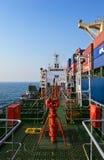 Bunkering-Tankerfirma-Nayada-Ozeancontainerschiff Primorsky Krai Ost (Japan-) Meer 19 04 2014 Lizenzfreie Stockfotos
