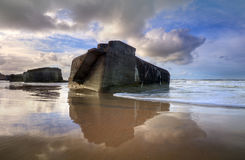 Bunkers. Is reflected in the sand Royalty Free Stock Photo