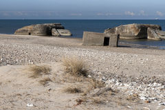 Bunkers on the Beach Royalty Free Stock Photography