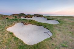 Bunkers on the Castle Course, St Andrews Stock Images