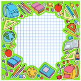 Bunner cell sheet in cage with set of different school things vector bag apple Royalty Free Stock Photography