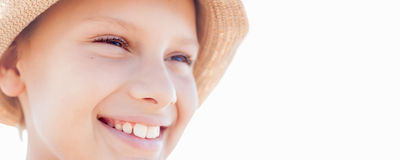 Banner summer vacation happy child boy smile straw hat. Backlight Royalty Free Stock Photo