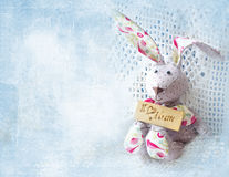 逗人喜爱的野兔 拿着有题字的愉快的母亲节bunnie委员会我爱妈咪 看板卡日德国问候母亲s文本 库存图片