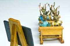 Bunnies Πάσχας στο σχολείο Στοκ φωτογραφία με δικαίωμα ελεύθερης χρήσης