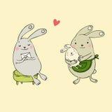 bunnies χαριτωμένα Επιστολή και μωρό Στοκ εικόνες με δικαίωμα ελεύθερης χρήσης