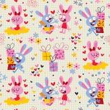 Bunnies & δώρων πρότυπο Στοκ Εικόνα