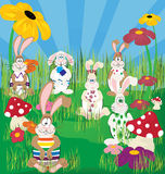 Bunnies. Easter bunnies playing  at the garden Stock Image