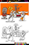 Bunnies band cartoon coloring book Stock Image