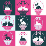 Bunnies in the baskets Stock Images