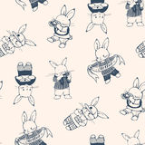 Bunnies. Black and white seamless pattern with funny cartoon Bunnies. Hand-drawn illustration. Vector Royalty Free Stock Photos