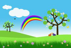 Bunnies, blossom trees and rainbow Stock Photography