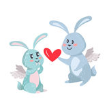 Bunnies Boy and Girl with Angel Wings Isolated Stock Photos