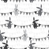 Bunnies and bunting. Monochrome  seamless pattern. Royalty Free Stock Image