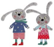 Bunnies, cartoon characters. Colorful felt and wool quiltting Stock Photo