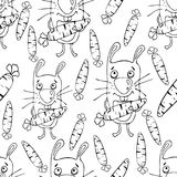 Bunnies cartoon seamless pattern, coloring book, sketch, hand drawing, vector background. Funny painted rabbit with a carrot in th Stock Photo
