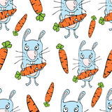 Bunnies cartoon seamless pattern, hand drawing, vector background. Funny painted rabbit with a carrot in the paws on a white backd Stock Photos