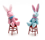 Bunnies on Chairs Stock Photography