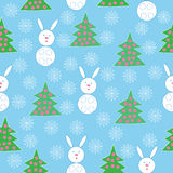 Bunnies and Christmas trees Royalty Free Stock Image