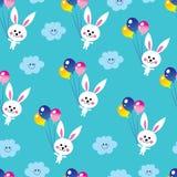 Bunnies clouds balloons sky seamless pattern. Cute baby bunnies clouds balloons sky seamless pattern Stock Photo