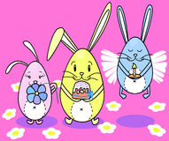 Bunnies Easter cakes with eggs Stock Image