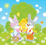Bunnies on Easter Sunday Royalty Free Stock Photos