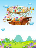 Bunnies with eggs riding in an airship Royalty Free Stock Image