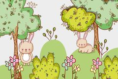 Bunnies in the forest doodle cartoons. Vector illustration graphic design vector illustration