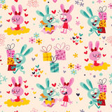 Bunnies & gifts pattern Royalty Free Stock Photo