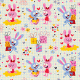 Bunnies & gifts pattern Stock Image