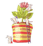 Bunnies. Hand-drawn illustration of funny cartoon Bunnies with flower in pot. Vector Stock Photo