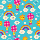Bunnies in hot air balloons rainbows clouds sky sun kids pattern Royalty Free Stock Photos