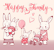 Bunnies. Illustration of funny cartoon Bunnies. Family - father, mother and children.  Hand-drawn illustration. Vector Stock Photo