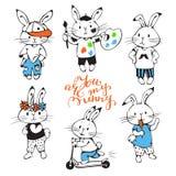 Bunnies. Illustration of funny cartoon Bunnies. Hand-drawn illustration. Vector set Royalty Free Stock Photos