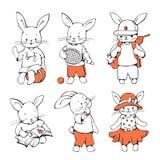 Bunnies. Illustration of funny cartoon Bunnies. Hand-drawn illustration. Vector set Royalty Free Stock Photo