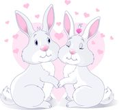 Bunnies in love. Two very cute white Bunnies in love royalty free illustration