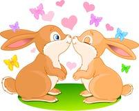 Bunnies in love stock illustration